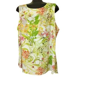 Rose & Olive Floral Sleeveless Tank Top Blouse